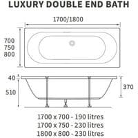 Lisna Waters Maple 1700mm x 750mm Double Ended Whirlpool Bath & Air Spa Bath 14 Jet Encore System